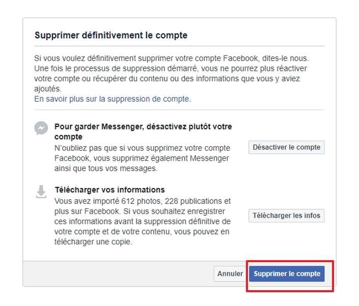 Confirmez la suppression du compte en cliquant en bas à droite. © Facebook