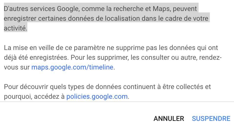 Noir sur blanc, Google confirme que ses services, comme la recherche et Maps, peuvent enregistrer certaines données de localisation en fond de tâche. © Capture S. Biget