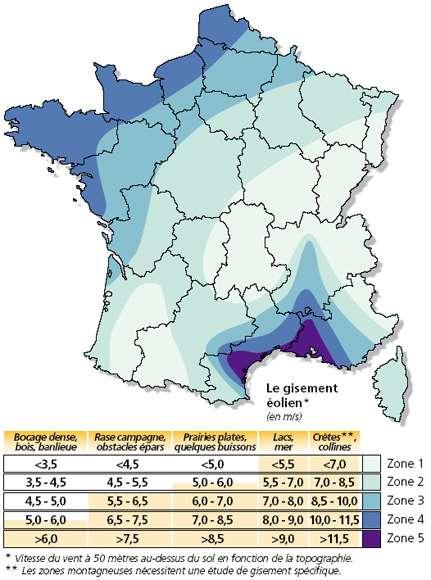 Carte du potentiel éolien terrestre en France métropolitaine. Plus les zones tendent vers le violet, plus le potentiel est important. © Ademe