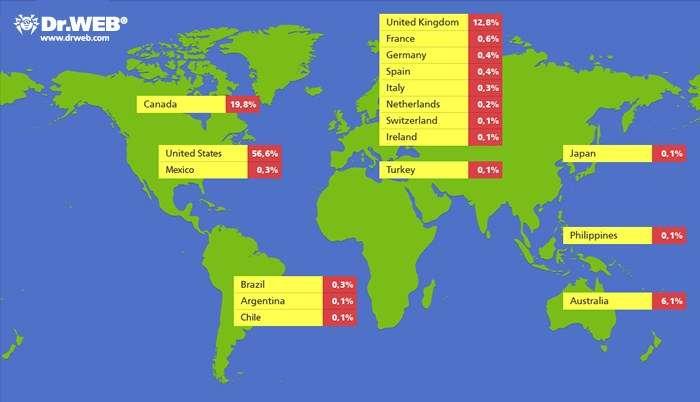 La carte de la propagation du virus Flashback sur les Mac dans le monde, à la date du 4 avril 2012. Six cent mille ordinateurs sont alors touchés, ce qui représente l'apogée de la contamination par ce virus, découvert en septembre 2011. © Dr. Web