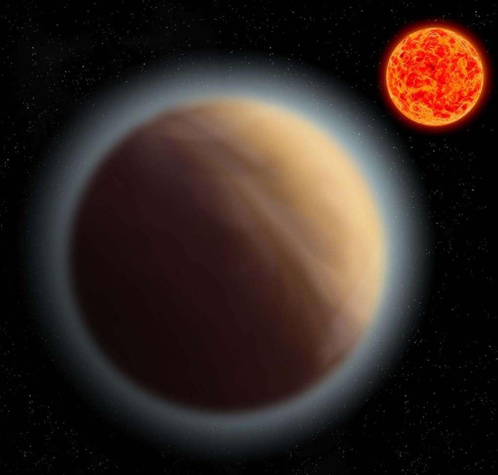 Illustration de GJ 1132 b et de son atmosphère. Cette exoplanète gravite en seulement 1,6 jour à 2,2 millions de kilomètres de son étoile, une naine rouge. En comparaison, Mercure se situe à 58 millions de kilomètres du Soleil. © MPIA