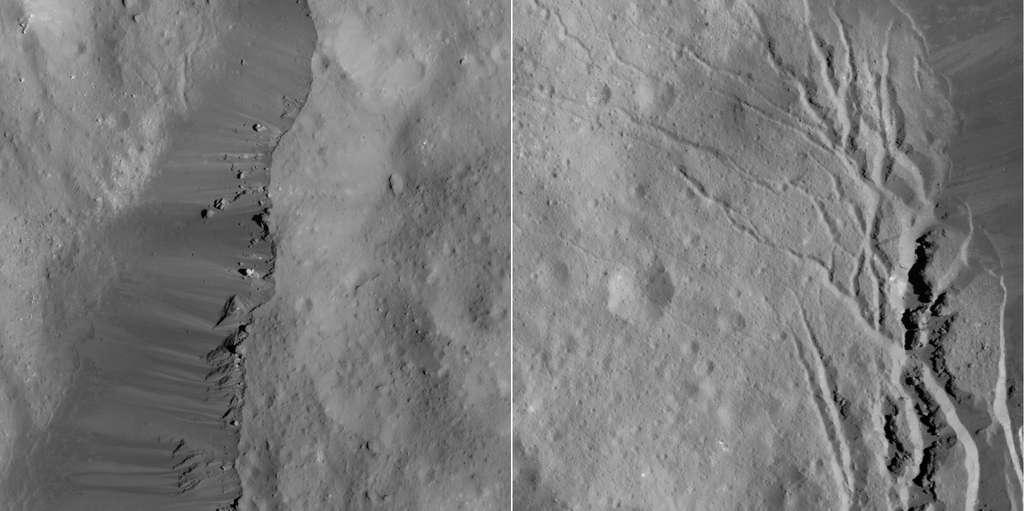 À gauche, détails des pentes sur la bordure est du célèbre cratère Occator. À droite, fissures au pied des pentes sud-est du cratère Occator. © Nasa, JPL-Caltech, UCLA, MPS, DLR, IDA