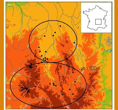 Fig. 1 - Carte des sites du Massif Central avec restes fauniques, 40 000 – 7 500 BP