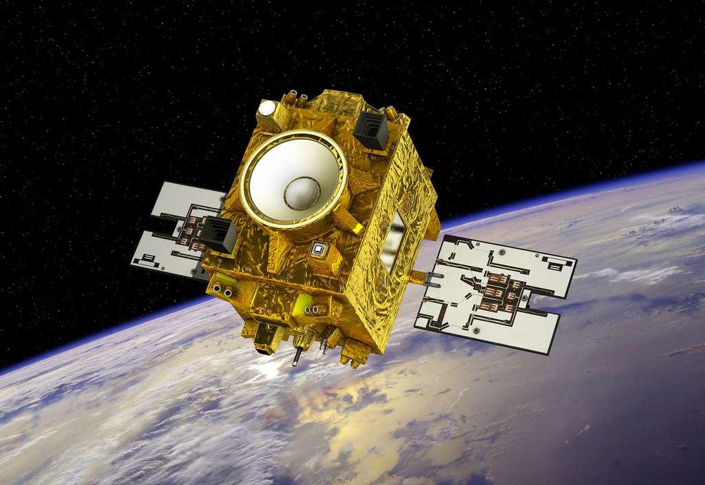 Microscope (Microsatellite à traînée compensée pour l'observation du principe d'équivalence) est un satellite de petite taille construit autour de la plateforme Myriade du Cnes. L'ensemble a une masse de 300 kg pour des dimensions sous coiffe (c'est-à-dire panneaux solaires rétractés) de 1,4 m x 1 m x 1,5 m. © Cnes, D. Ducros