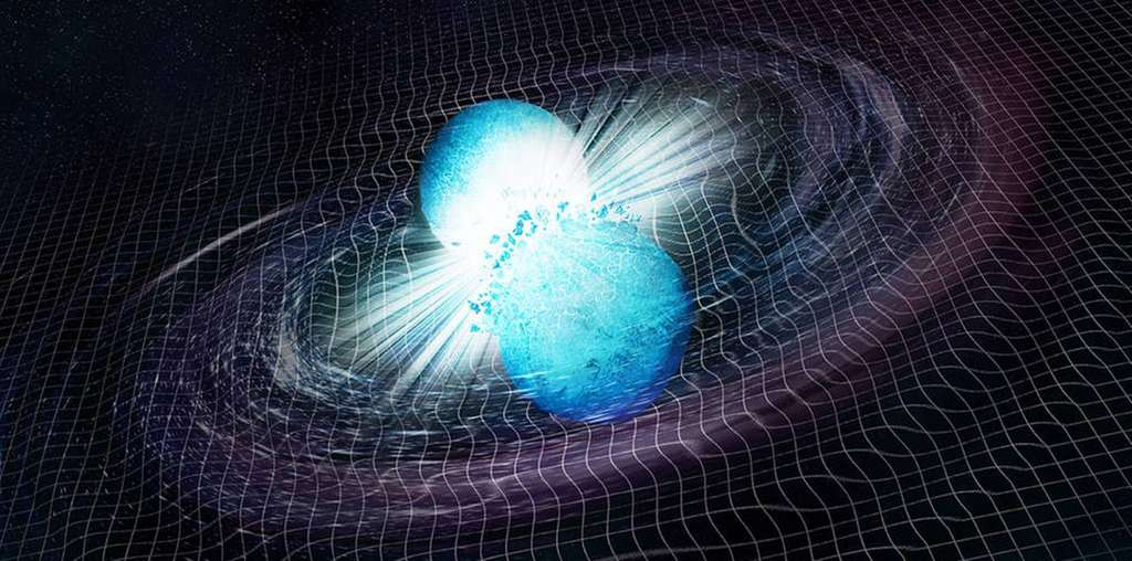 Une vue d'artiste de la collision de deux étoiles à neutrons et des ondes gravitationnelles résultantes. © CXC, M. Weiss