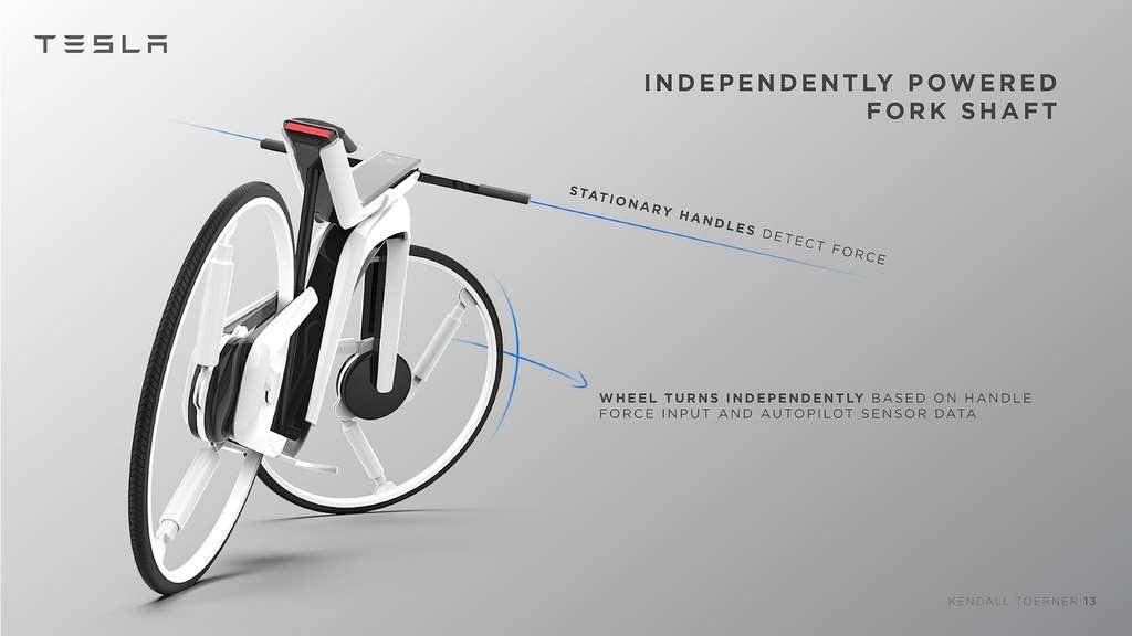 Le guidon du vélo est fixe, les commandes de direction sont déclenchées par pression des poignées. © Kendall Toerner