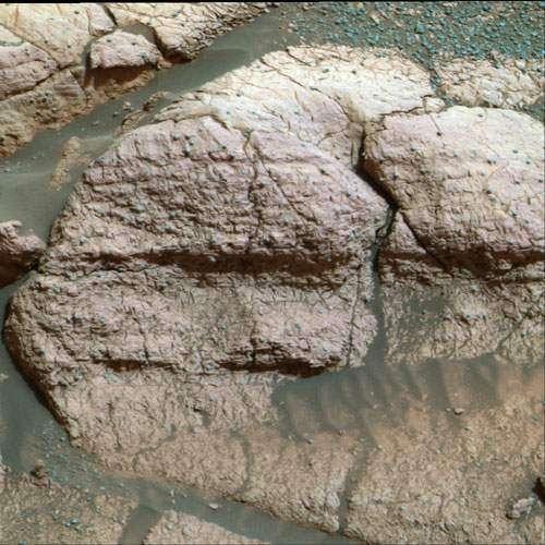 Sur Mars, le soufre (observé ici sur le rocher El Capitan) aurait été à l'origine de l'effet de serre. © Nasa/JPL