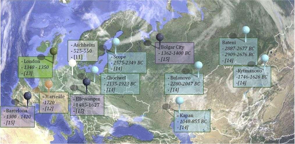Exemples de sites européens où des victimes de la peste ont été enterrées au cours de l'histoire de l'Humanité. © Drancourt and Raoult, 2016