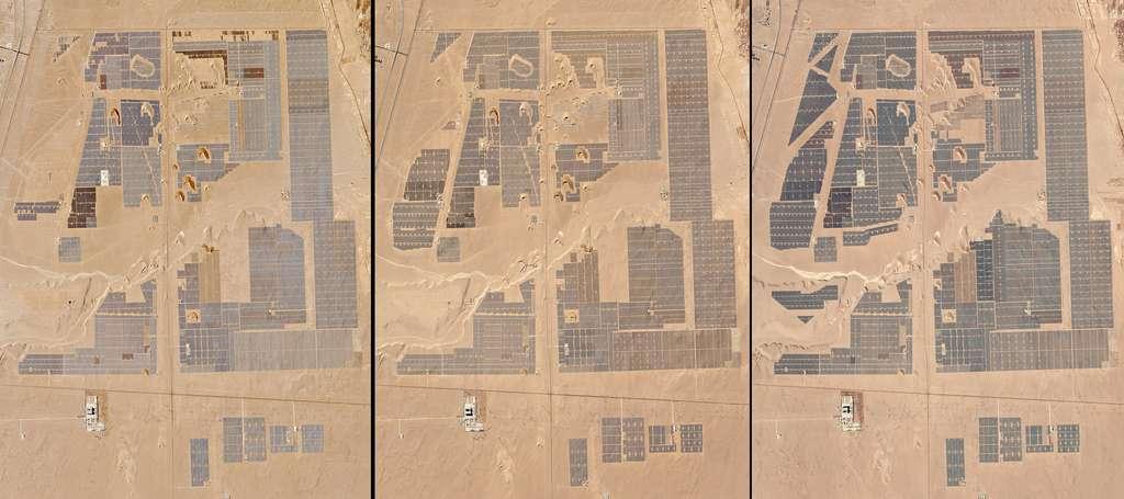 Ces trois images satellite, acquises en décembre 2015, février 2016 et janvier 2017 (de gauche à droite), montrent l'état d'avancement de la construction d'une ferme solaire située près de la ville chinoise de Golmud. © Planet