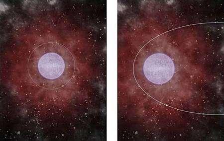 Deux cas de figure d'une binaire formée d'une étoile à neutrons et d'une supergéante entourée d'un nuage de gaz ou de poussières. A gauche, l'étoile à neutrons tourne sur une orbite circulaire. Elle reste en permanence à l'intérieur du cocon. L'interaction continuelle entre la matière du nuage et les énormes champs gravitationnels et magnétiques engendrés par l'étoile à neutrons provoque l'émission d'un puissant rayonnement X. Une partie est absorbée par le nuage et le reste s'échappe, devenant détectable pour nous. A droite, l'orbite est elliptique. L'étoile à neutrons sort périodiquement du cocon. Le rayonnement X est alors intermittent, ne se produisant que lorsque l'étoile plonge dans le nuage de gaz ou de poussières. Ces deux configurations possibles expliquent l'existence des deux classes de systèmes observées par les astronomes. Crédit Sylvain Chaty