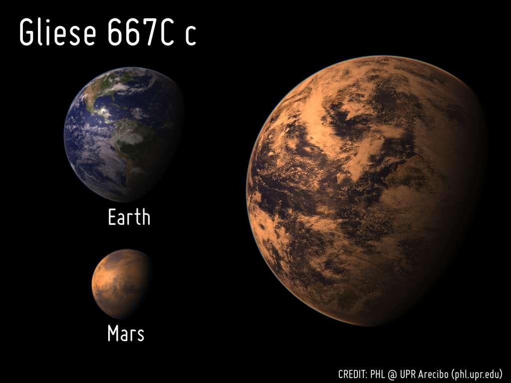 Une comparaison des tailles de la Terre, Mars et Gliese 667C c. L'aspect probable de l'exoplanète a été simulé à l'ordinateur. Son atmosphère apparaît rouge du fait qu'elle est en orbite autour d'une naine rouge. © Planetary Habitability Laboratory @ UPR Arecibo