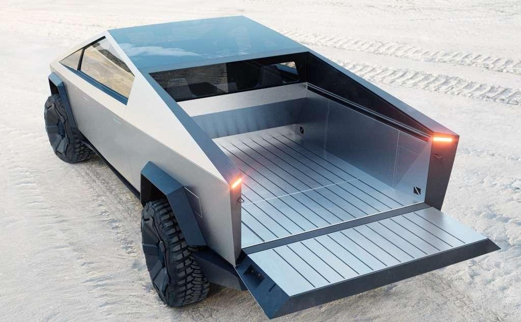 Vue arrière du Cybertruck avec sa benne de chargement. © Tesla