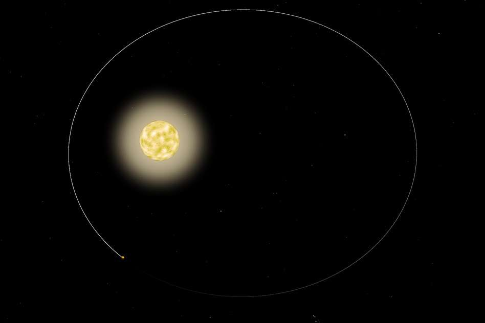 Une vue d'artiste de l'exoplanète HAT-P-2b autour de son étoile, qui est légérement plus massive que le Soleil et plus jeune de quelques milliards d'années. © Nasa