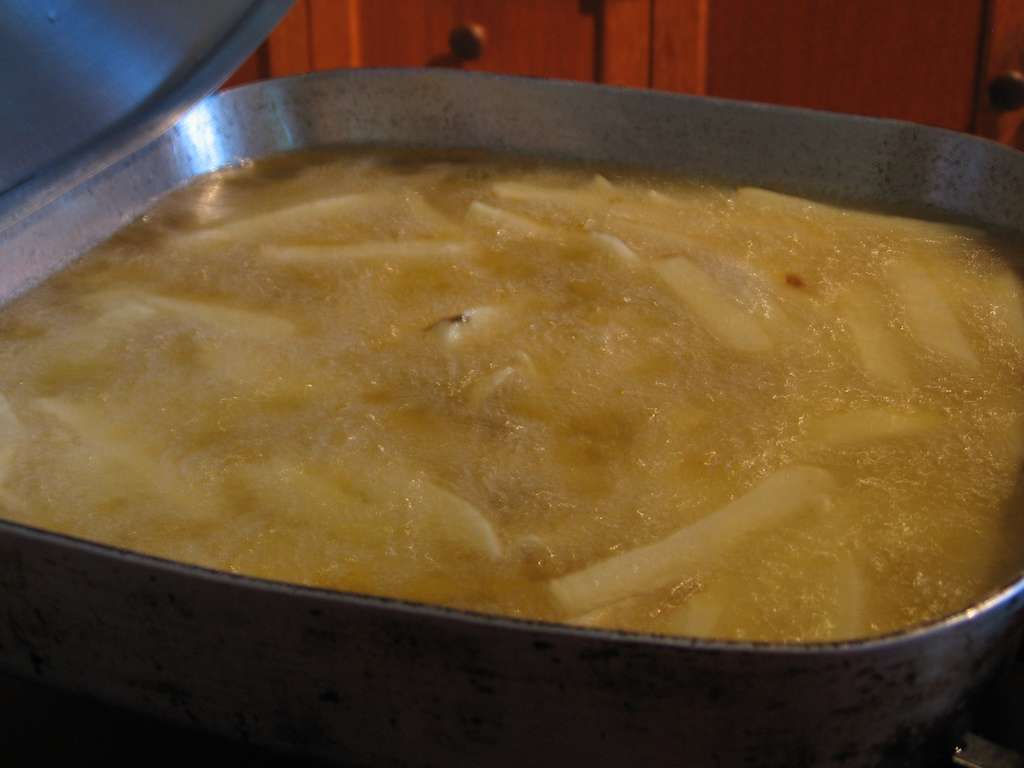 Certains ne verront que des frites dans cette photographie. D'autres seront plus intéressés par l'huile qui pourrait bientôt être utilisée à moindre coût pour produire du bioplastique. Près de 70.000 tonnes d'huiles culinaires ont été utilisées en France en 2002. © Beppie K, Flickr, CC by-nc-sa 2.0