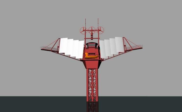 La partie émergée du Polar Pod porte des voiles enroulables pour utiliser le vent afin de se maintenir sur la bonne route, celle d'une navigation autour du continent antarctique. © Jean-Louis Étienne, Ship Studio