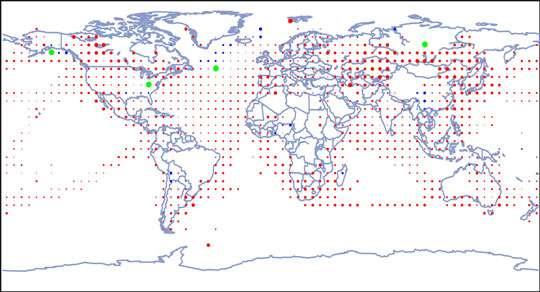 Figure 2 : Tendances de la température annuelle pour la période 1901-2000. Les tendances sont représentées par la surface des cercles, le rouge représentant une augmentation, le bleu une diminution et le vert un changement faible ou nul.