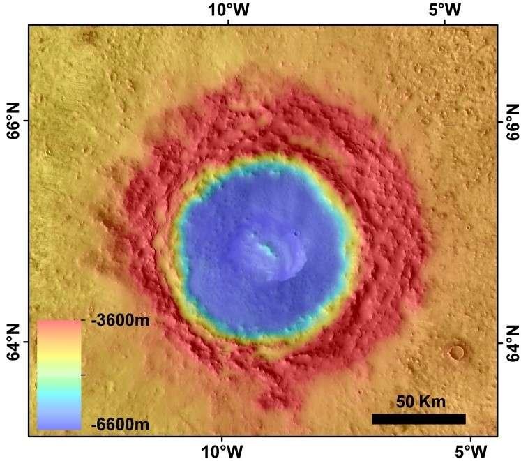 Le cratère Lomonosov de 120 kilomètres de diamètre. Données altitudinales de l'instrument Mola (Mars Orbiter Laser Altimeter). © Nasa, JPL, USGS