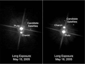 Clichés pris le 15 et 18 Mai 2005 par Hubble On y aperçoit les deux nouvelles lunes potentielles de Pluton (Crédit : NASA)