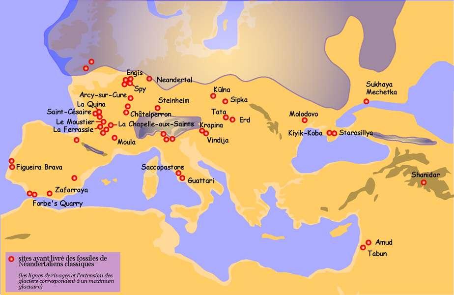 Sur cette carte, les principaux sites sur lesquels des traces de l'Homme de Néandertal ont été retrouvées. © 120, Wikipedia, CC 3.0