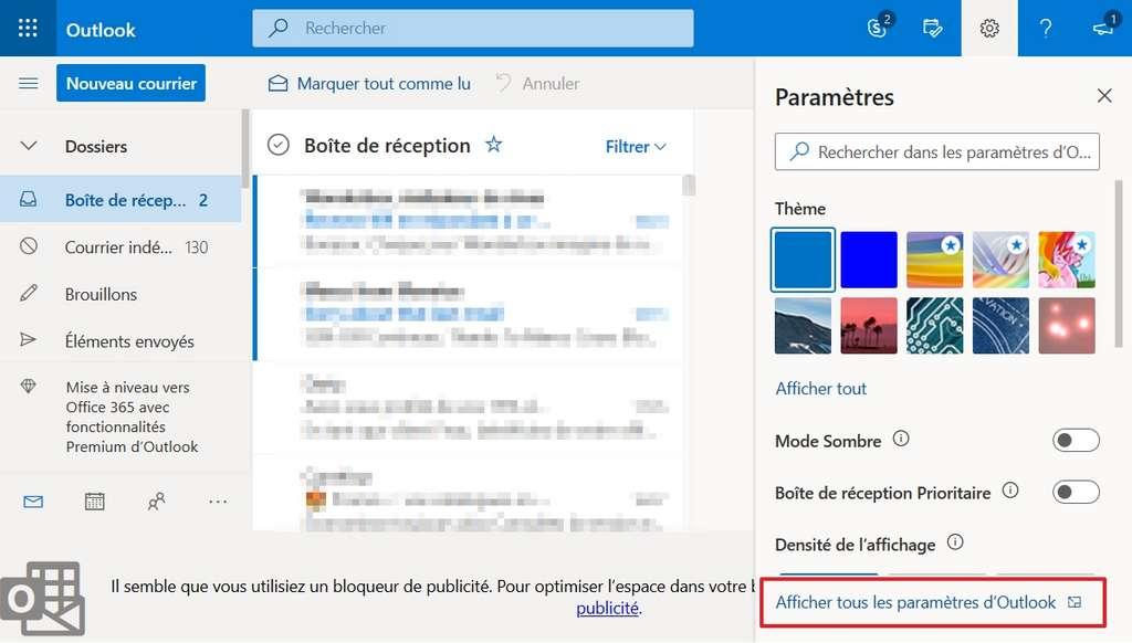 Cliquez sur « Afficher tous les paramètres d'Outlook ». © Microsoft