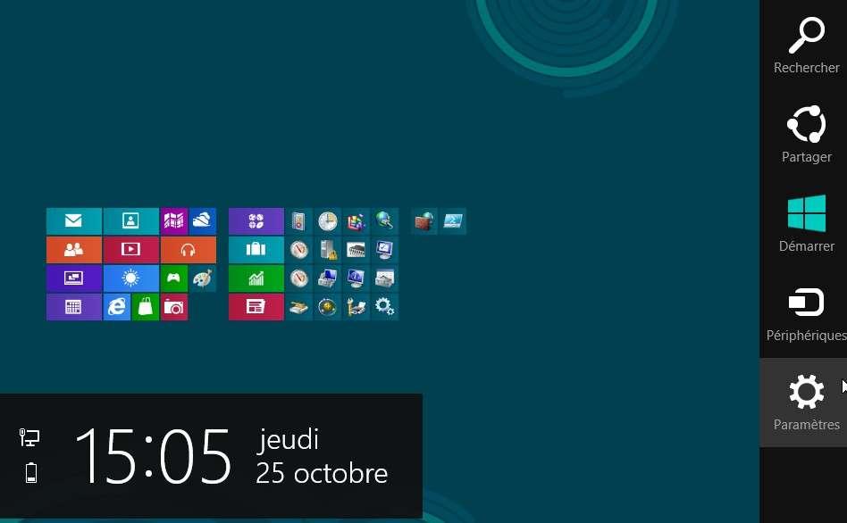 Apparaissant à la demande à droite de l'écran d'accueil de Windows 8, la Charm Bar donne accès à un certain nombre de réglages du système et de l'ordinateur. C'est aussi par elle qu'il faut passer pour éteindre Windows. © Eureka Presse