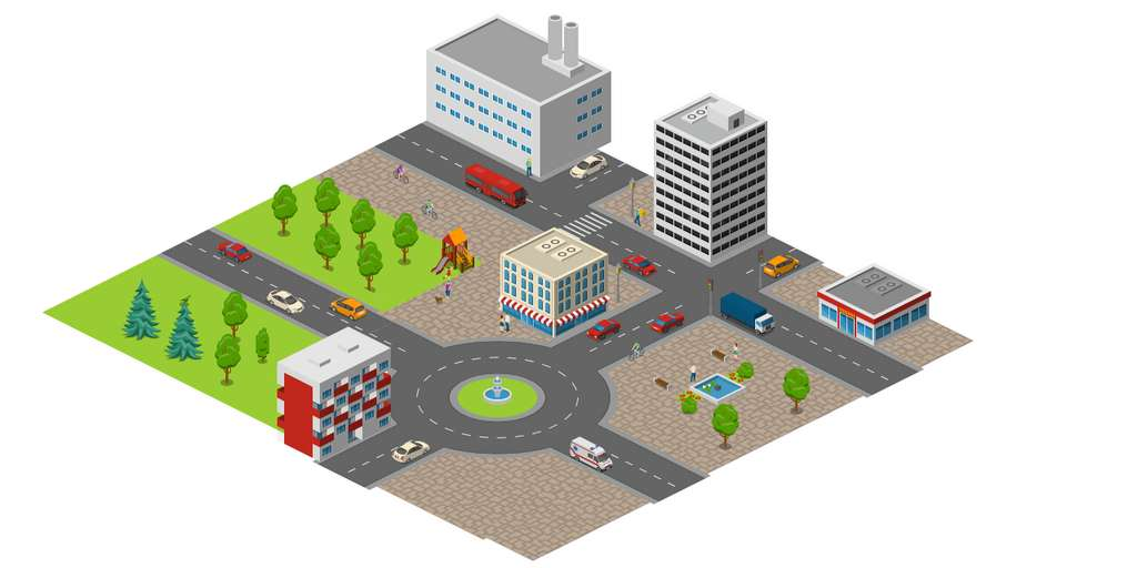 Un simple rond-point à la place d'un feu fluidifie la circulation et contribue à la baisse de la pollution. © Geco air