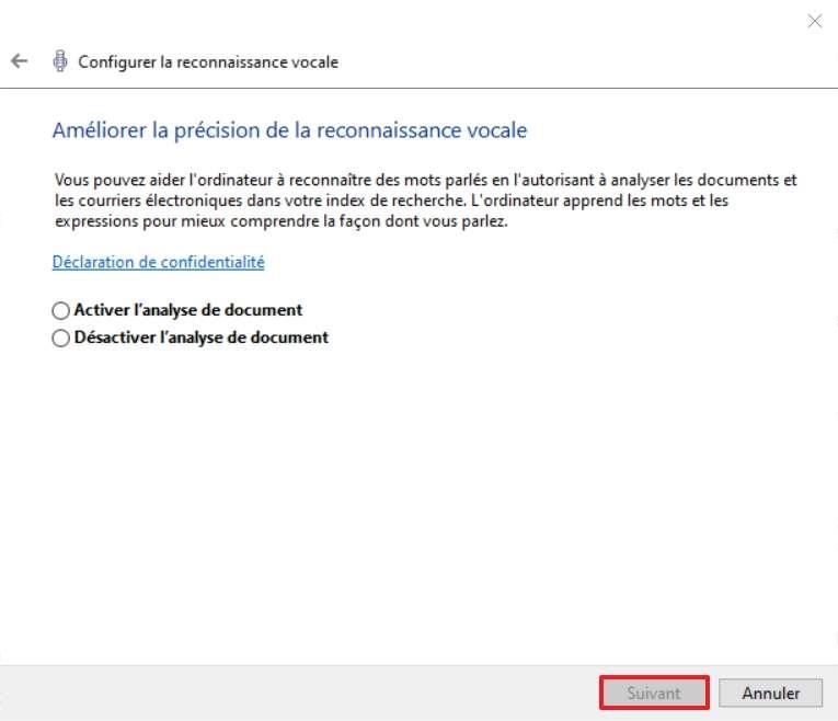 Décidez si vous voulez améliorer la précision de la reconnaissance vocale grâce à l'analyse de document. © Microsoft