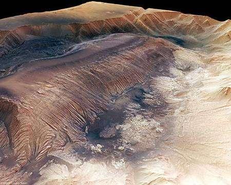 Autre vue en perspective de Hebes Chasma obtenue d'après les données de l'instrument HRSC. Crédits : ESA/DLR/FU Berlin (G. Neukum)