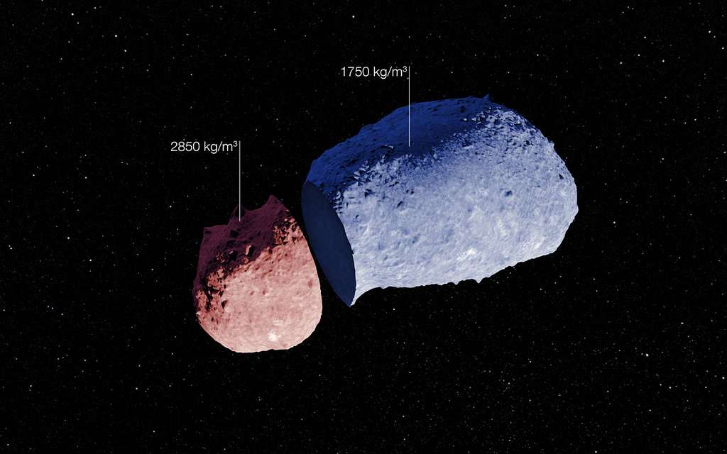 Créé à partie des images prises par la sonde Hayabusa, ce dessin illustre la composition inhomogène de l'astéroïde Itokawa. Deux zones de densité différente ont été indiquées en fausses couleurs. © Eso, Jaxa