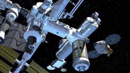 Orion en approche de la Station Spatiale Internationale (vue d'artiste). Crédit Nasa