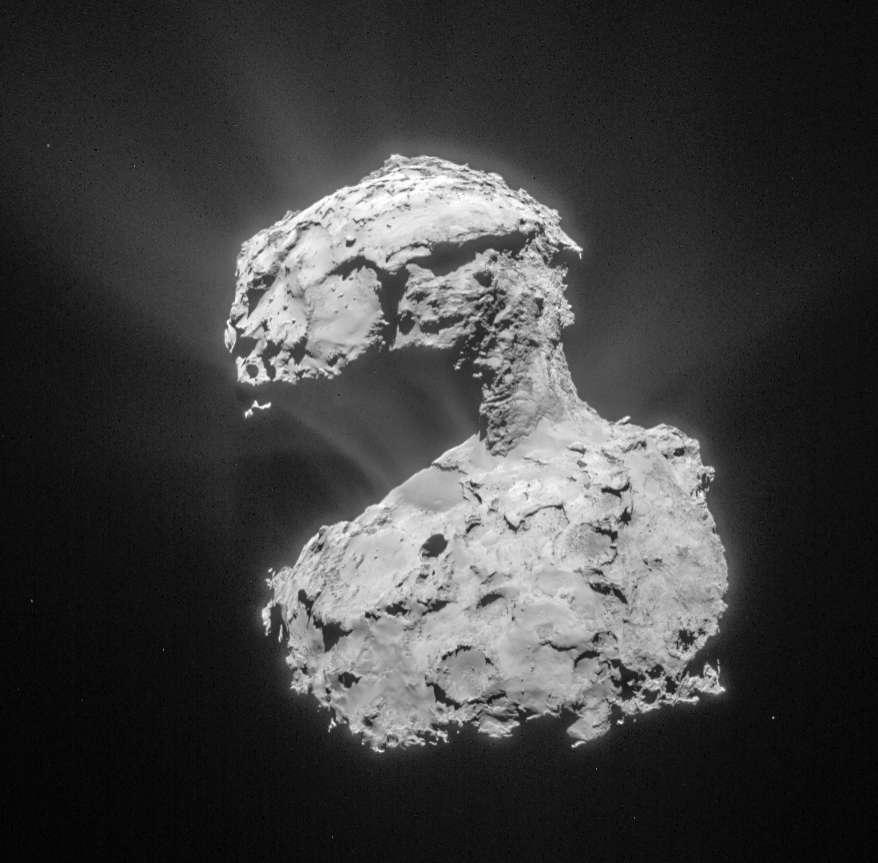 Le noyau de la comète Tchouri photographié par la sonde Rosetta qui l'a épié durant deux ans. Étudier ces corps célestes venus des confins glacés du Système solaire et considérés comme de véritables fossiles de sa formation est une occasion pour les chercheurs d'en savoir plus sur nos origines. © ESA, Rosetta, MPS for OSIRIS Team MPS, UPD, LAM, IAA, SSO, INTA, UPM, DASP, IDA