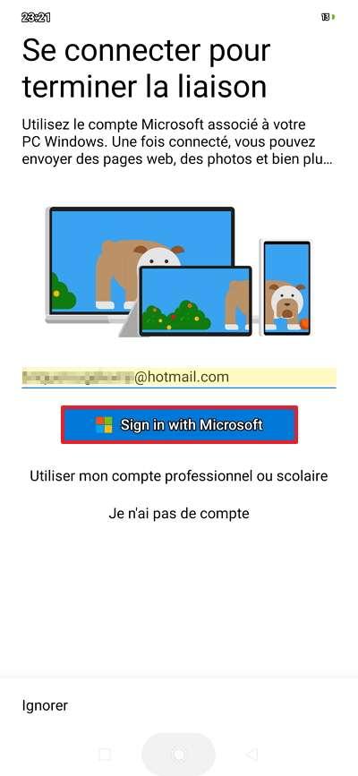 Renseignez votre identifiant Microsoft et appuyez sur « Sign in with Microsoft ». © Microsoft