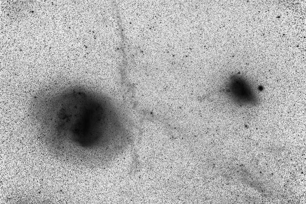 Une image de luminance inverse des grands et des petits nuages de Magellan, suite à deux heures d'exposition à l'aide d'un reflex numérique avec une lentille de 50 mm. L'image montre des coquilles de marée autour du Grand Nuage de Magellan, un pont d'étoiles reliant les deux et des cirrus galactiques au premier plan. Cela suggère une interaction proche ancienne avec fusion de galaxies. © Andrew Lockwood