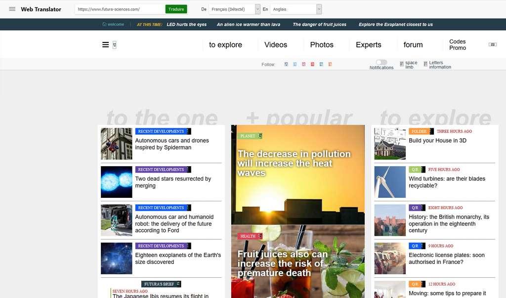 Voici la version anglaise de Futura proposée par Bing Translator ! © Microsoft