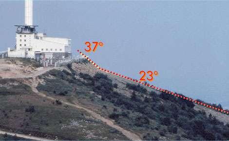 Le Chirat de l'Oeillon, 1390 m. Noter la différence de pente entre le déblais de gravité et le chirat. (Cl. B.E., oct 1974