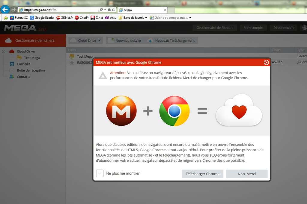 Mega recommande fortement l'usage du navigateur Chrome qui est présenté comme le plus compatible avec le service pour sa prise en charge d'HTML5. Mais le service peut tout de même fonctionner avec les autres principaux navigateurs. © Marc Zaffagni, Futura-Sciences