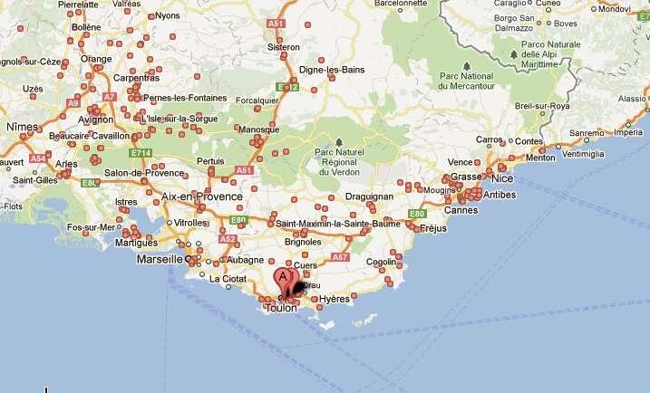 La côte méditerranéenne, paysages de Provence. © Google Maps