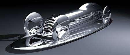 La SilverFlow vient d'arriver à destination. Elle s'étale alors en une flaque, bien moins encombrante. Attention à ne pas se garer à proximité d'une bouche d'égout... © Mercedes-Benz Advanced Design of North America