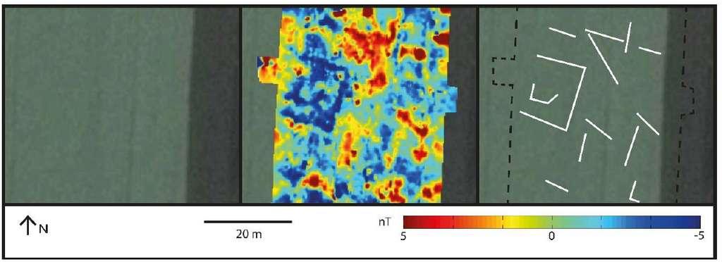 Exemple d'application de la méthode magnétique pour l'archéologie. À gauche le site où a eu lieu la campagne de prospection, au centre la carte d'anomalie magnétique obtenue après les mesures et le traitement des données, à droite l'interprétation des structures enfouies. © Bruno Gavazzi