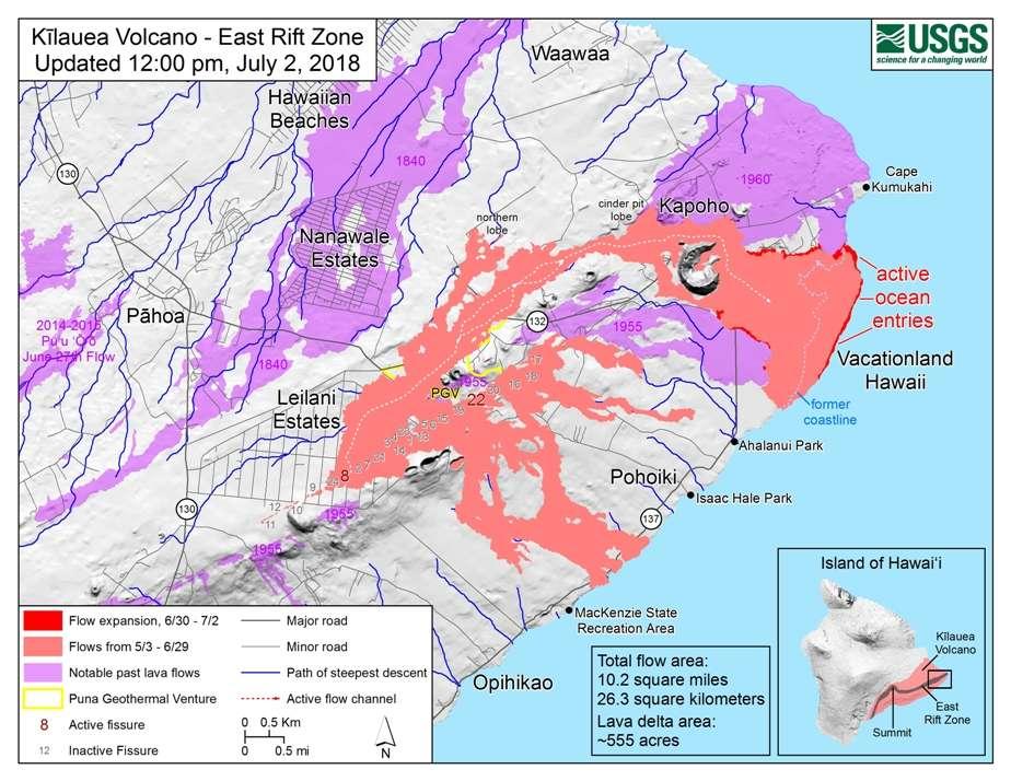 Une carte de la région du Kilauea montrant des coulées de lave récentes. Celles du mois de juillet 2018 sont en rouge. Celles du mois de mai sont en orange. © USGS