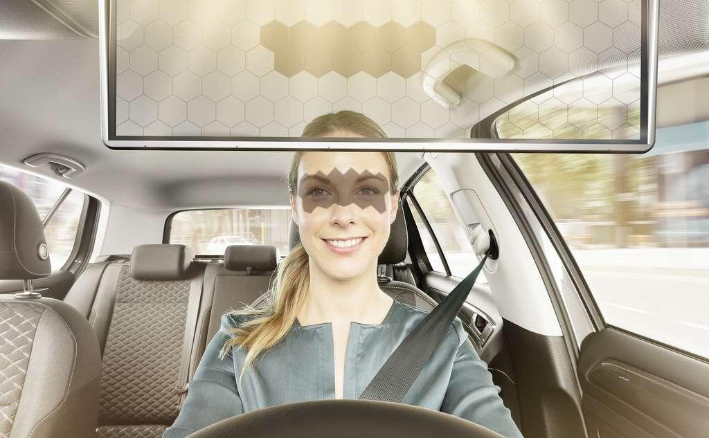 Le pare-soleil virtuel de Bosch dégage le champ de vision de l'automobiliste. © Bosch
