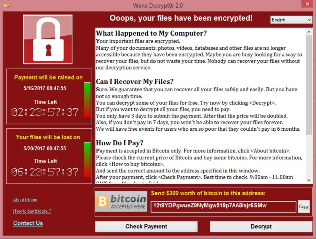 Voici une capture d'écran du message que les victimes du ransomware WannaCry voient apparaître sur leur ordinateur infecté. © WannaCry, DP