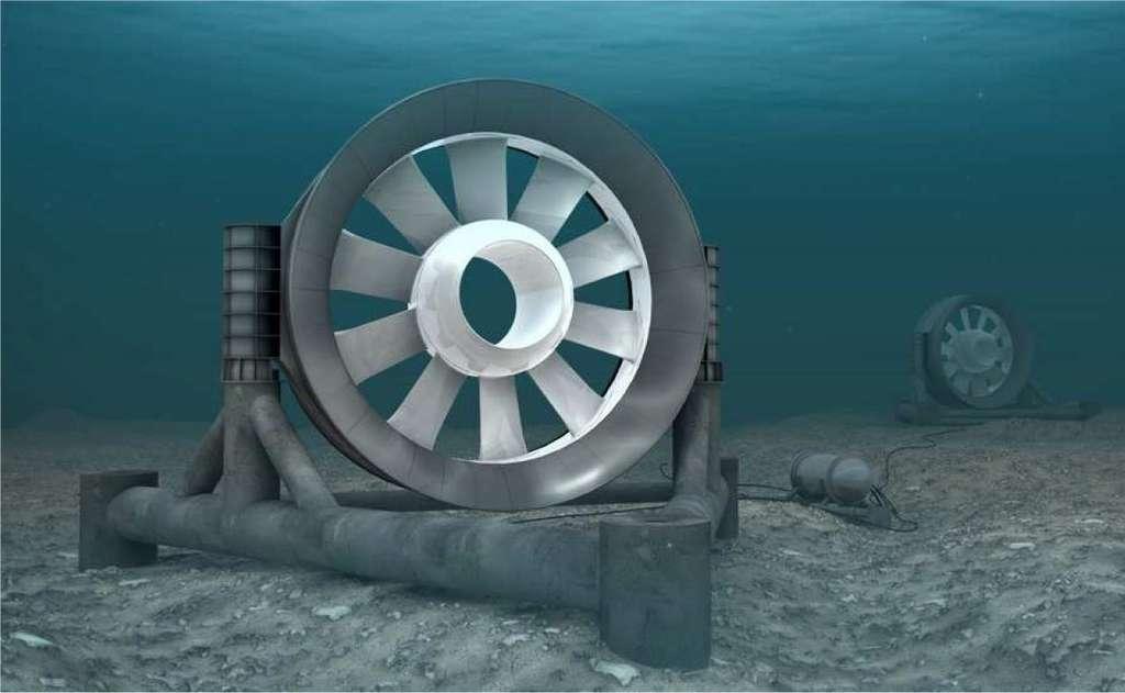 Si les énergies renouvelables sont toujours coûteuses, elles deviennent pourtant de plus en plus efficaces. Sur l'image, un prototype d'hydrolienne en cours d'installation dans le parc Paimpol-Bréhat. Chaque hydrolienne, située à 35 m de fond, possède une turbine d'un diamètre de 16 m et pourra fournir une puissance de 0,5 MW. © EDF