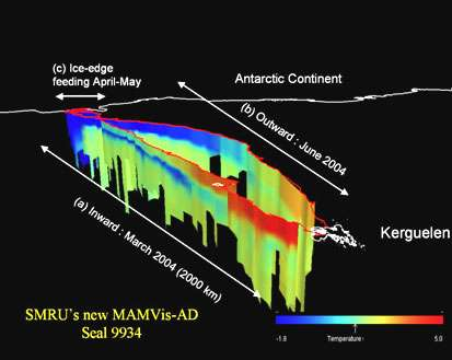 Trajet de l'éléphant de mer entre mars et juin 2004. Phase aller au mois de mars (a), phase de retour en juin (b), phase de séjour en avril-mai dans la banquise antarctique en cours de formation (c). © DR