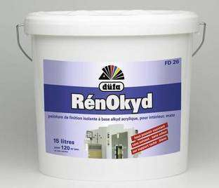 Peinture à base de résine alkyde en émulsion ; aspect mat. Elle est sans odeur. Son hors poussière est de 30 minutes. Elle sèche en 2 heures environ et est recouvrable après 12 heures. Rendement : 8 m2/litre. © DR