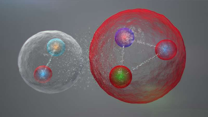 La nouvelle particule découverte au Cern contient cinq quarks. Comme le montre ce dessin, il pourrait s'agir d'une sorte d'état lié complexe entre un méson (à gauche) et un baryon (à droite). De telles molécules hadroniques ont déjà été envisagées par les chercheurs. © Cern