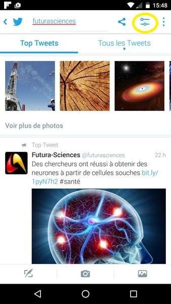 Sur l'application mobile Twitter (ici Android), les options de recherche se trouvent dans le menu Affiner les recherches encerclé en jaune. © Futura-Sciences