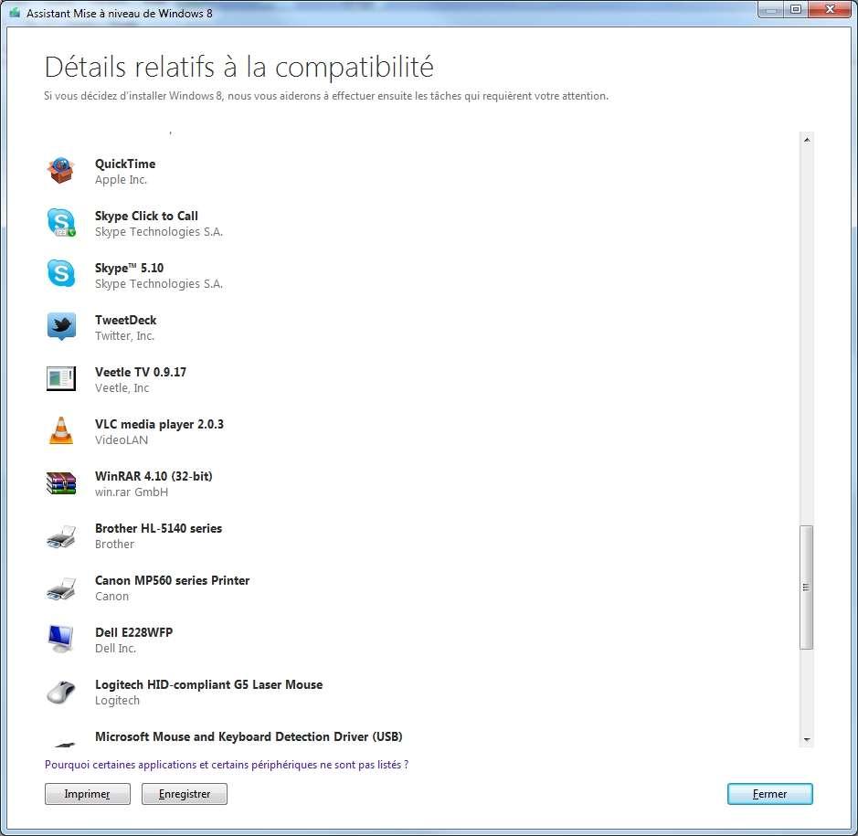 Non seulement l'Assistant mise à niveau de Windows 8 vous indique si votre configuration est suffisante pour le nouveau système d'exploitation de Microsoft, mais il liste également les logiciels installés et les périphériques compatibles et incompatibles. © Eureka Presse