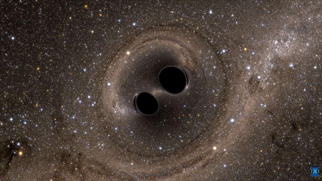 L'instrument Ligo (Laser Interferometer Gravitational-Wave Observatory) a permis de détecter l'onde gravitationnelle produite par la collision puis la fusion de deux trous noirs d'environ 30 masses solaires chacun. Mais à quoi aurait ressemblé visuellement l'événement pour des observateur à quelques milliers de kilomètres ? Des simulations numériques nous permettent de le découvrir. Cette image, montrant des effets de lentille gravitationnelle, est extraite de l'une d'elles. © SXS (Simulating eXtreme Spacetimes project)