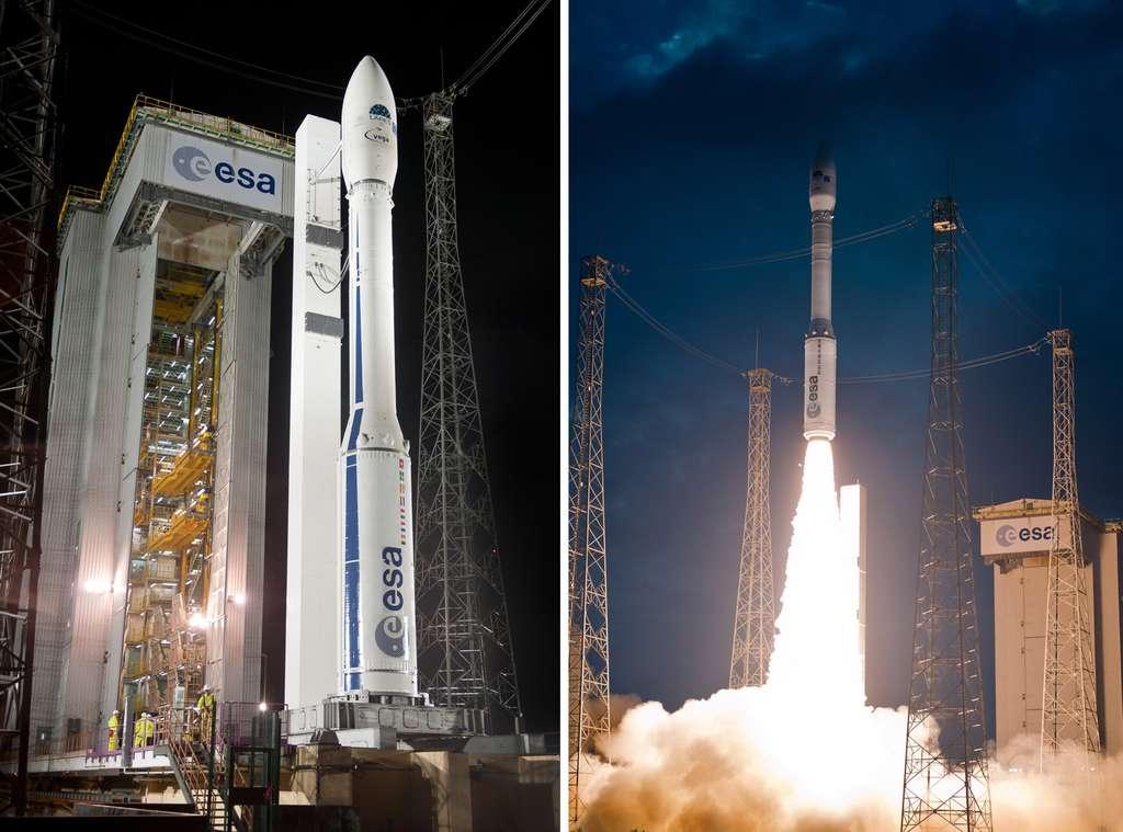L'année 2012 a notamment été marquée par le premier lancement du petit lanceur Vega, plus communément appelé lanceur pour la science. Lors de cette mission, neuf satellites ont été mis en orbite. © Esa, Cnes, Arianespace, service Optique du CSG